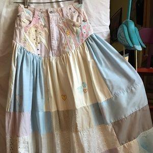 Skirt vintage patchwork pastels